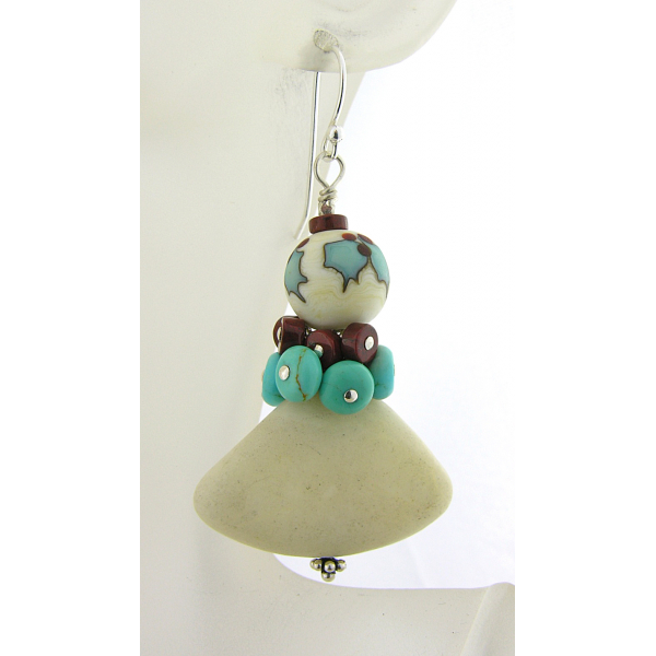 Handmade holly earrings with turquoise, red jasper, marble, lampwork, sterling