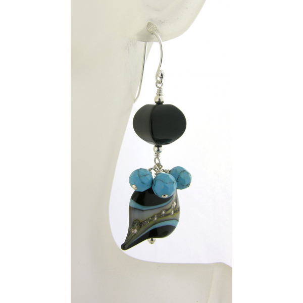 Handmade turquoise black lampwork gemstone earrings with onyx turquoise sterling