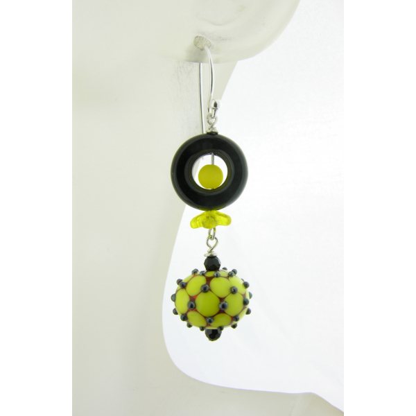 Hand made yellow black earrings dotted lampwork glass, onyx, sterling