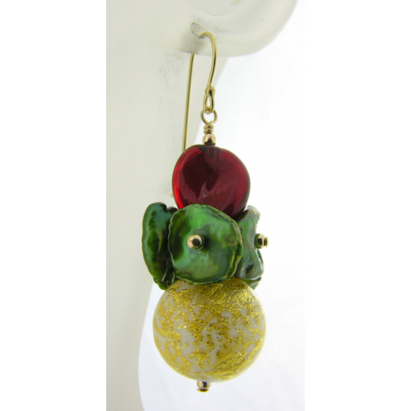 Artisan made red green gold earrings with Venetian beads keshi pearls