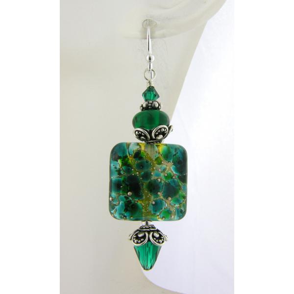 Artisan dark green earrings with square lampwork glass, Swarovski, sterling