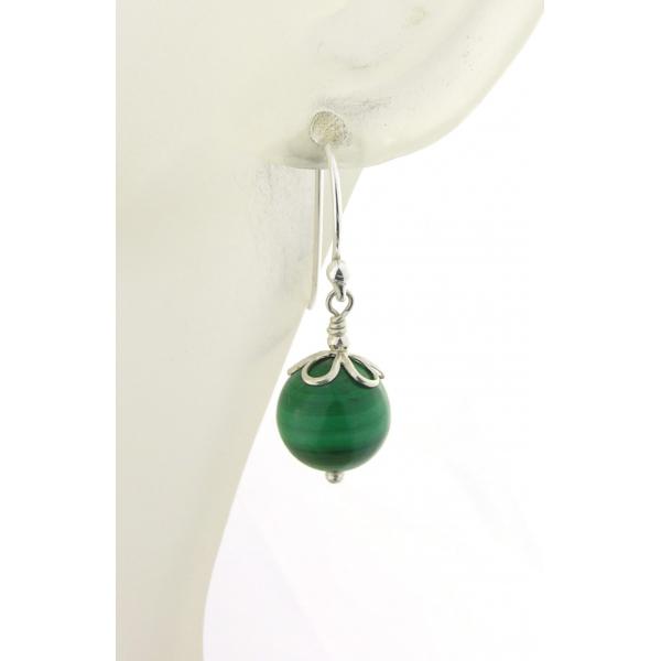 Artisan green malachite earrings sterling silver petals st. patricks day