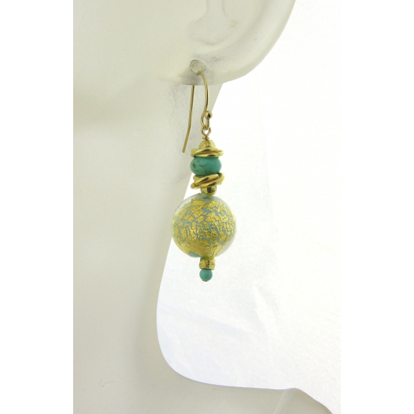 Handmade earrings with turquoise gold venetian beads turquoise gold fill vermeil