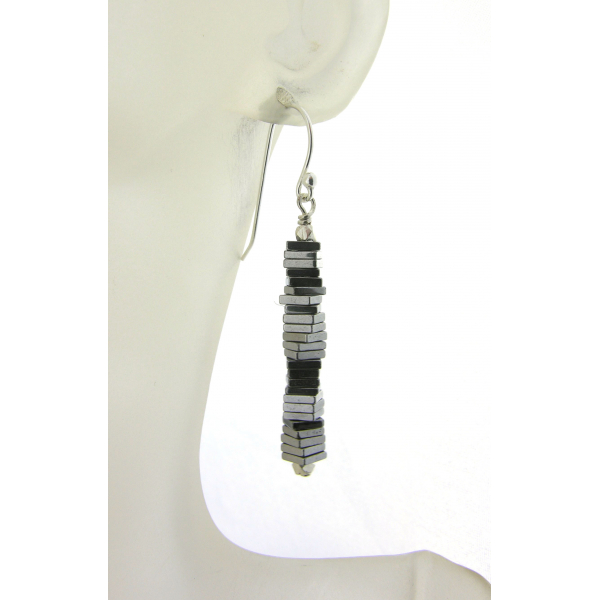 Handmade silver column earrings with silver plated pyrite gemstones sterling