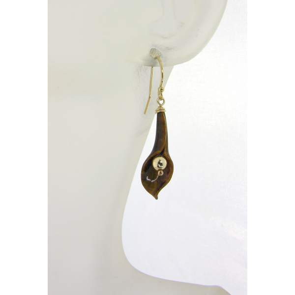 Handmade brown earrings with tiger eye carved lily, gold fill