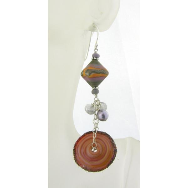 Handmade gray lavendar orange lampwork earrings grey quartz sterling rustic
