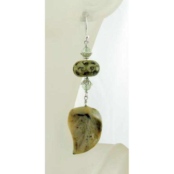 Handmade pale green organic earrings with prehnite, african opal leaf lampwork