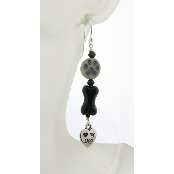 Handmade earrings with black glass bone, gray paw print, dog love charm sterling