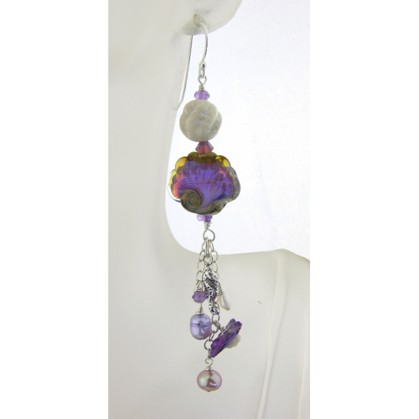 Handmade earrings with purple shell lampwork, seahorse charm, pearl and sterling