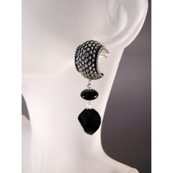 Artisan made dangle earrings Bali basket weave cuff on posts black agate onyx