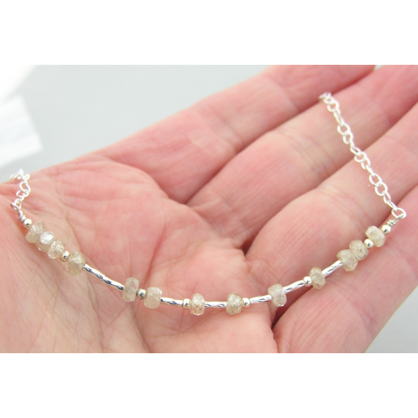 Artisan made sterling silver SPARKLE morse code necklace with champagne zircon