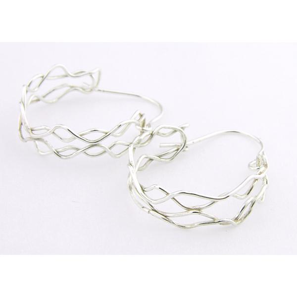 Artisan made argentium sterling mesh hoop earrings