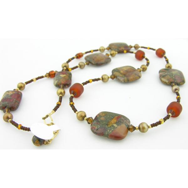 Handmade necklace/earrings topaz artisan lampwork red creek jasper gold fill