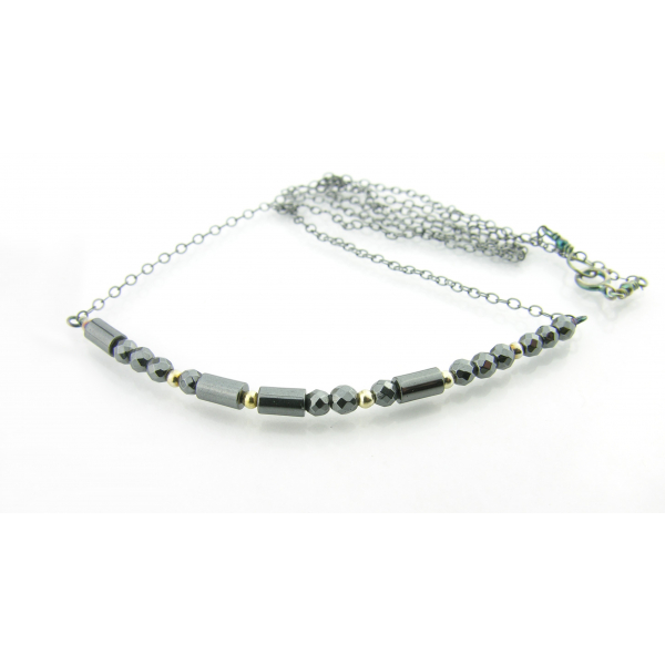 Artisan made sterling silver BADASS morse code necklace with hematite