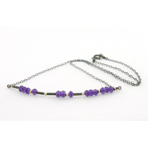 Artisan made sterling silver BADASS morse code necklace with amethyst