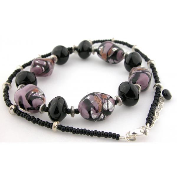 Handmade necklace earrings set with black purple Venetian bead onyx  sterling