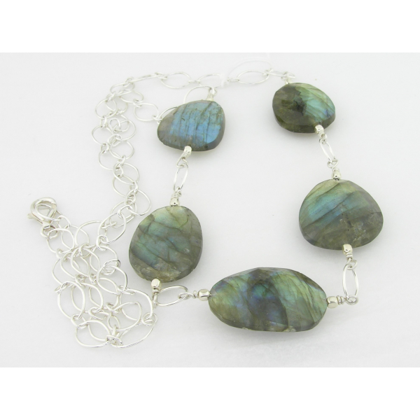 Handmade necklace faceted flat labradorite nuggets blue flash sterling silver