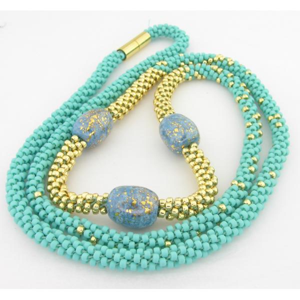 Turquoise and Gold Kumi Necklace - gold turquoise Kazuri ceramic artisan srajd cserpentDesigns