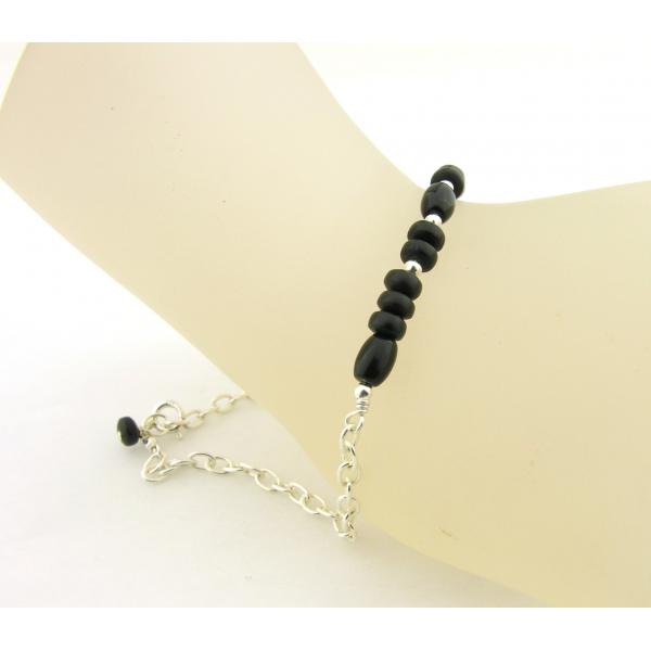 Handmade black onyx and sterling silver morse code bracelet bite me