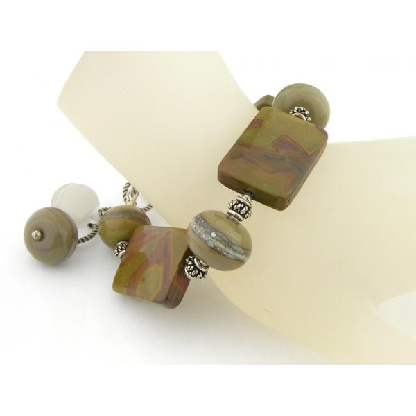 Handmade bracelet olive green brown jasper gemstones lampwork sterling silver