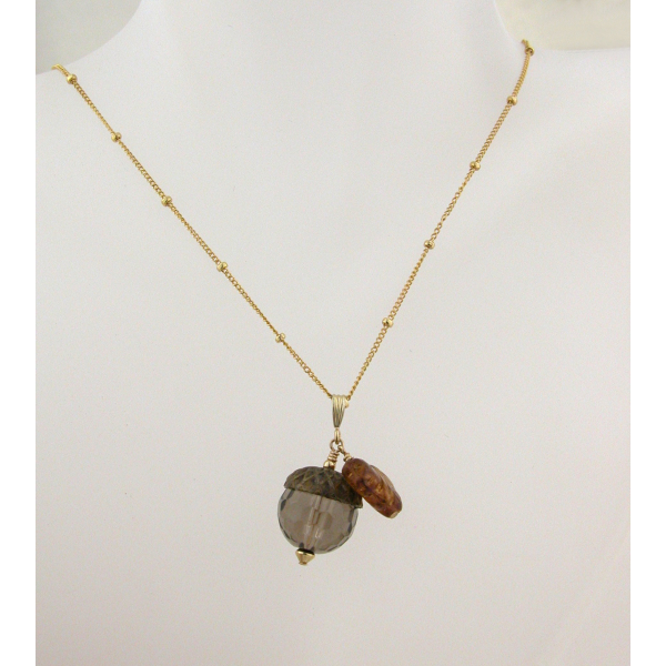 Handmade necklace with faceted smoky quartz acorn topaz glass leaf gold fill