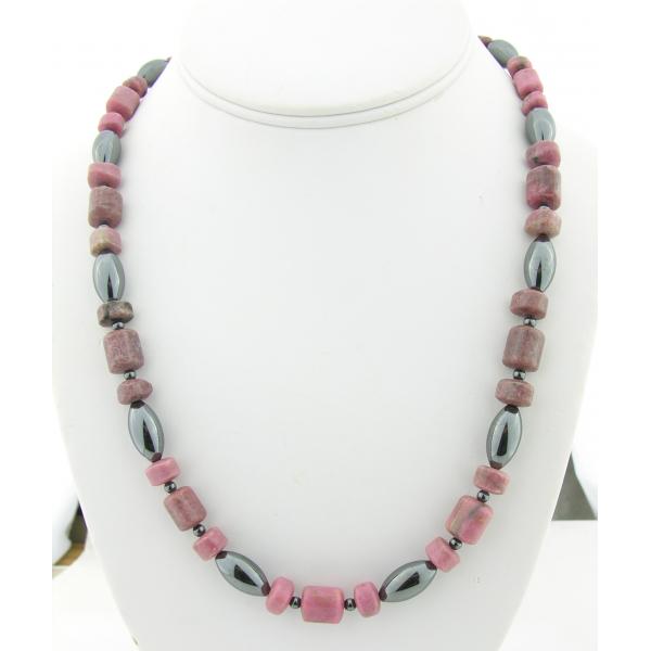 Handmade necklace metallic hematite, pink, black rhodonite gemstones sterling