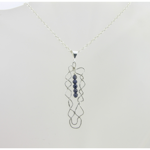 Artisan made argentium sterling mesh pendant necklac with blue sapphires