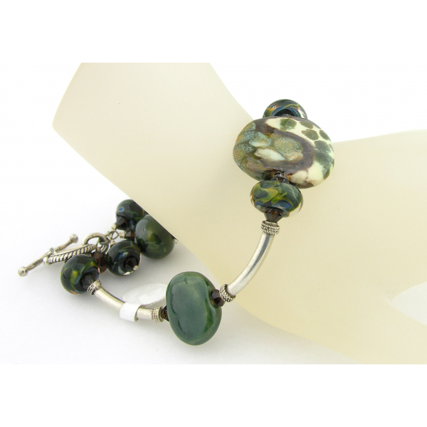 Handmade green and brown bracelet artisan lampwork Kazuri beads sterling silver