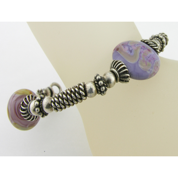 Handmade purple and silver bangle bracelet artisan lampwork and sterling silver