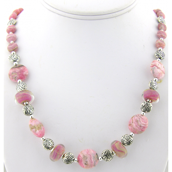 Handmade necklace and earrings set with pink rhodochrosite lampwork sterling