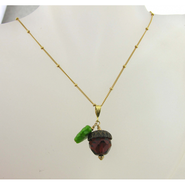 Handmade necklace with faceted brown glass acorn green glass leaf gold fill