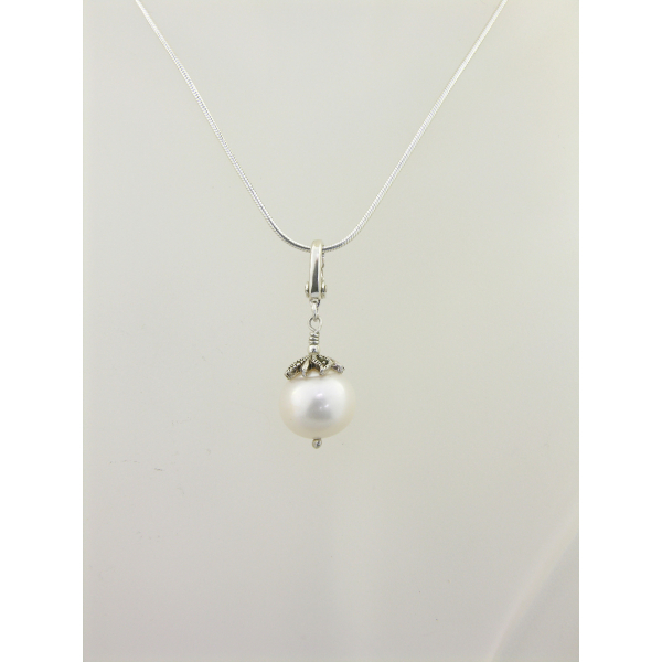 Handmade necklace with large freshwater pearl with marcasite cap, sterling