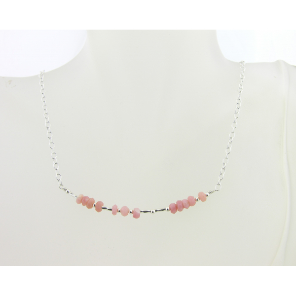 Artisan made sterling silver BREATHE morse code necklace with pink opal