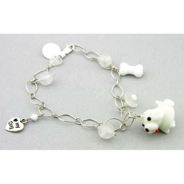 Handmade dog charm bracelet in white sterling silver crystal quartz flower heart