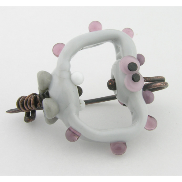 Artisan made glass lavendar grey alien pin or fibula with copper