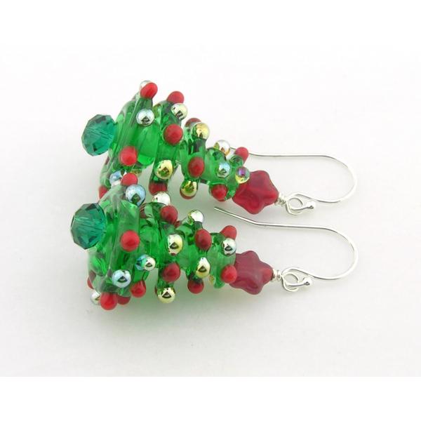 Handmade Christmas tree earrings with lampwork Swarovski crystals star sterling