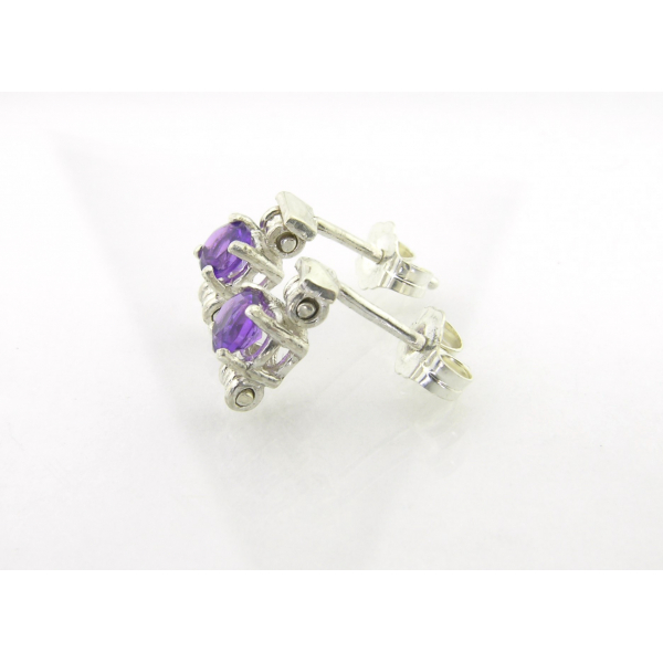 Handmade post earrings with AAA grade amethyst and sterling silver settings