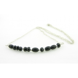 Artisan made sterling silver BITE ME morse code necklace with black onyx