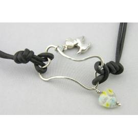 Handmade wire bone bracelet with sterling silver dog charm leather aquamarine