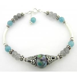 Handmade bracelet purple artisan lampwork disks pearls sterling silver