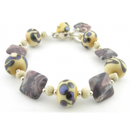 Handmade bracelet purple ivory jasper gemstone artisan lampwork sterling silver