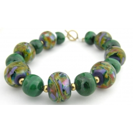 Handmade bracelet green purple artisan lampwork malachite gold fill