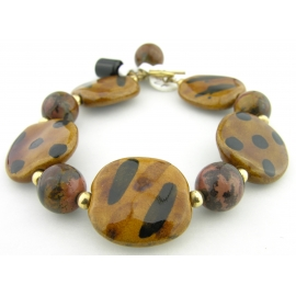 Handmade bracelet brown black picture jasper gemstone kazuri ceramic gold fill