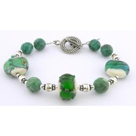 Handmade bracelet turquoise teal artisan lampwork gemstones sterling silver