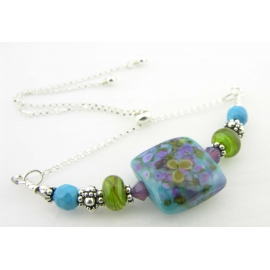 Handmade bracelet lime green turquoise blue purple lampwork crystal sterling
