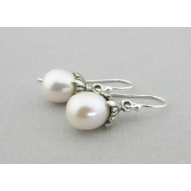 Artisan made sterling petal earrings with AAA white freshwater pearls