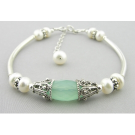 Handmade bracelet aqua chalcedony gemstone white freshwater pearls sterling
