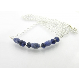 Artisan made sterling silver DARE morse code necklace with sodalite