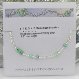Handmade weed grass agate and sterling silver morse code bracelet strong