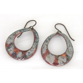 Artisan made organic raku enamel on copper earrings with niobium ear wires